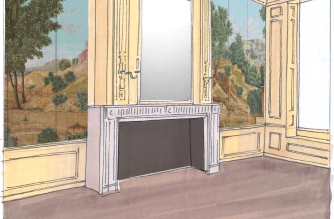 Ontwerp voor de 'Kleine Zaal' van het Pieter Teyler Huis, met een nieuwe variant op de 18de-eeuwse landschapsschildering die hier ooit aanwezig was