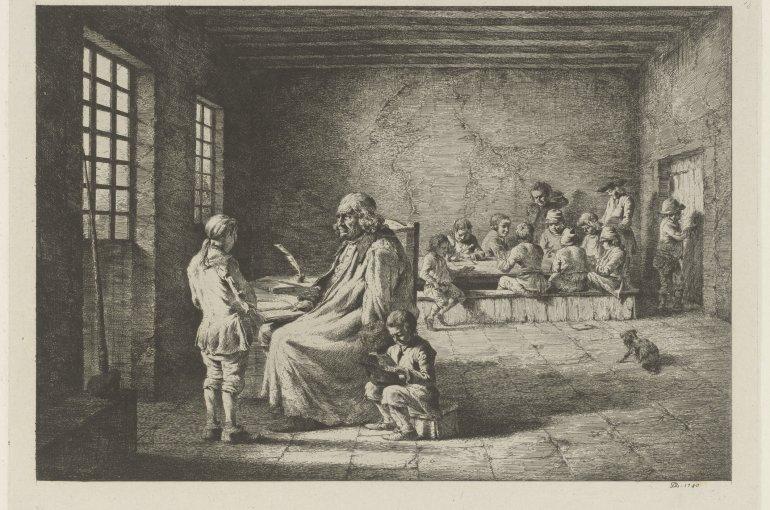 Schoolmeester met leerlingen in een klaslokaal, Jean Jacques de Boissieu, 1780 (collectie Rijksmuseum)