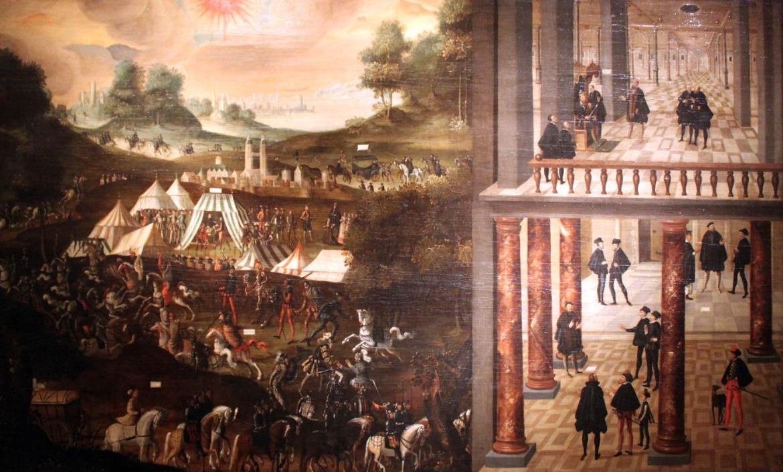Slag bij Mühlberg en de gevangenname van keurvorst Johan Friedrich van Saksen - Schilderij uit 1630, Deutsches Historisches Museum