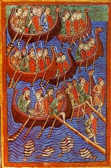 Twaalfde-eeuwse voorstelling van Vikingen