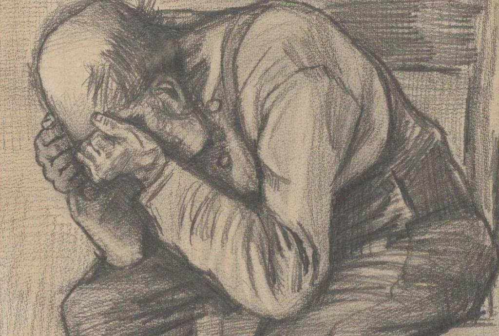 Vincent van Gogh, 'Studie 'Worn out'', rond 24 november 1882. Timmermans potlood op aquarel papier, 48.8 x approx. 30 cm. (Privécollectie) - Detail