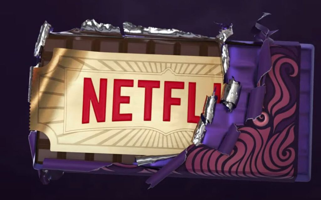Willy Wonka-reep met het logo van Netflix