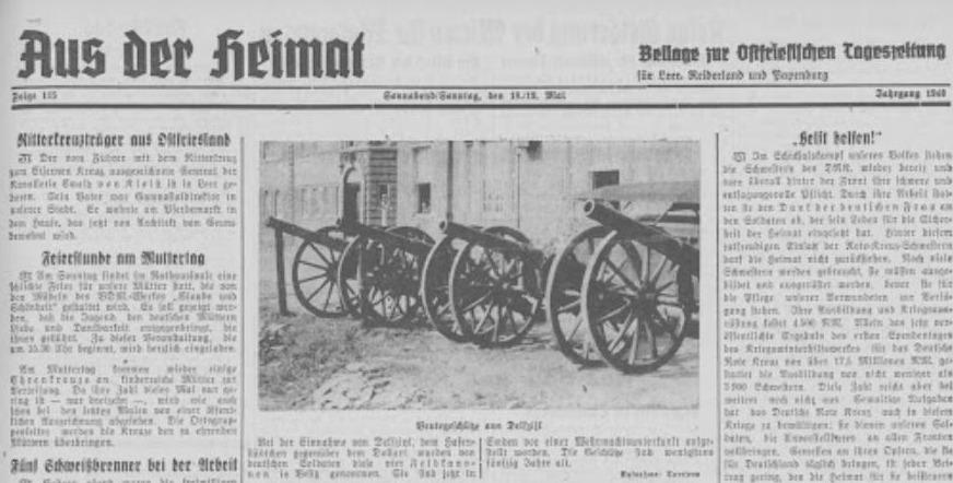 Duits krantenbericht over de kanonnen