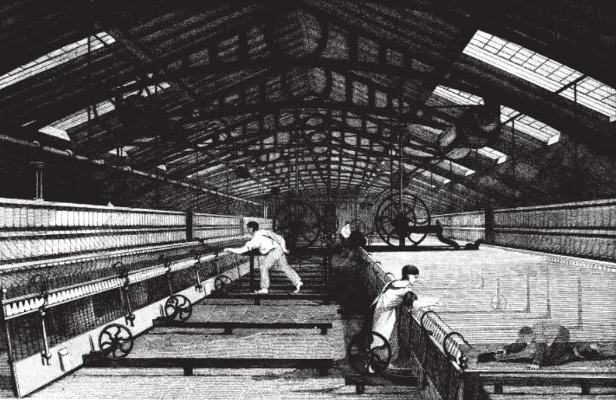 Kinderen aan het werk in een katoenspinnerij, 1835