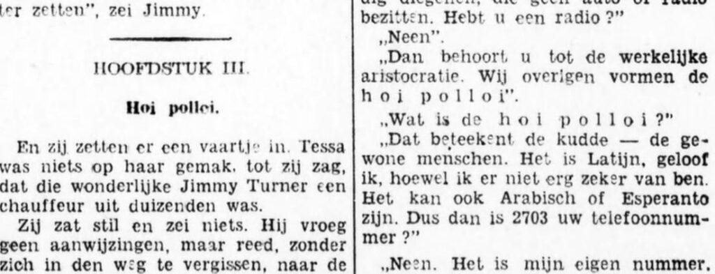 Vermelding van 'hoi polloi' in het Bataviaasch Nieuwsblad
