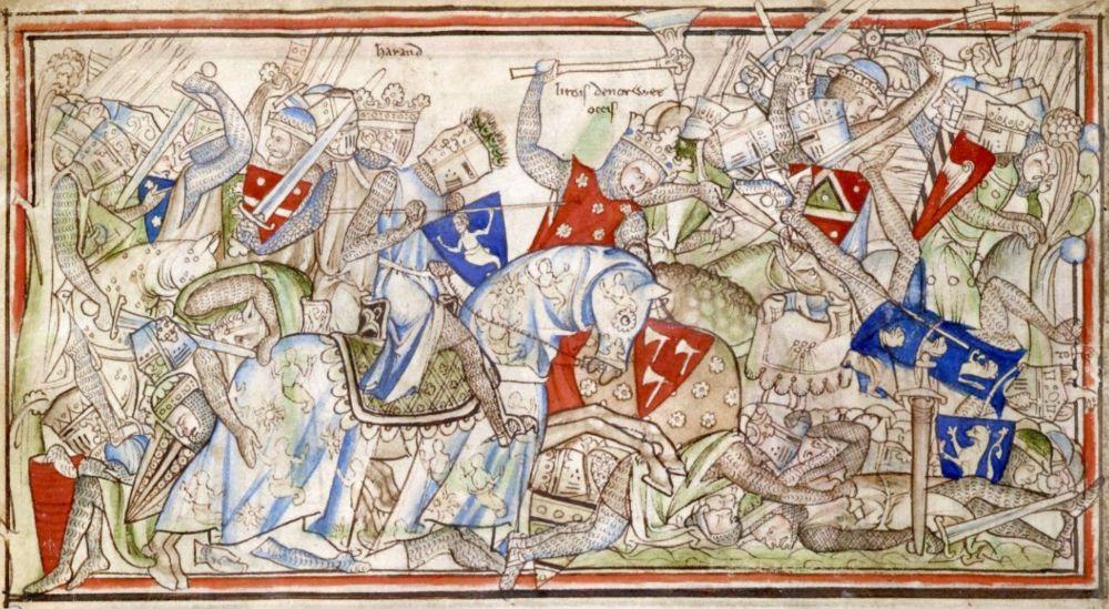 De Noorse koning Harald Sigurdsson tijdens de Slag bij Stamfordbridge, 1066