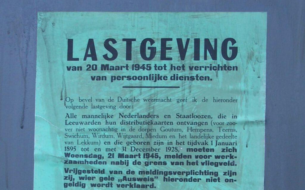 Oproep tot dwangarbeid in Friesland, 1945