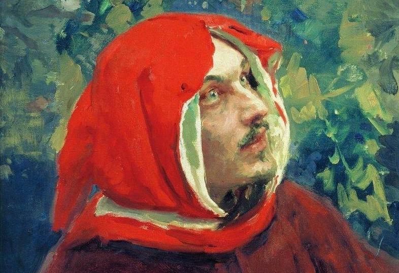 Portret van Dante - Ilja Jefimovitsj Repin, 1897