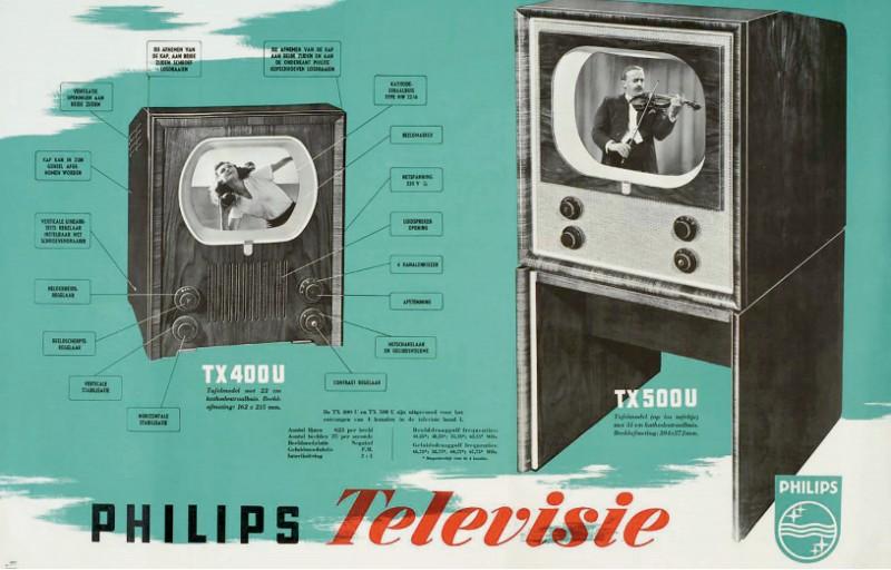 Philips adverteerde in 1951 voor toestellen met een superklein beeldscherm (22-31 centimeter). De toestellen werden vanwege het uiterlijk 'hondenhok' genoemd