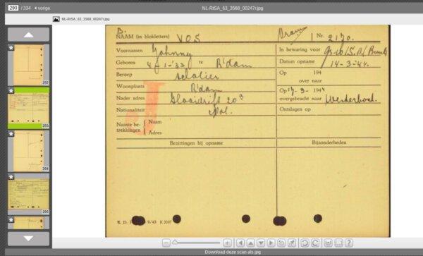 Rotterdamse arrestantenkaarten 1940-1944 online
